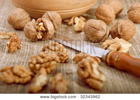 Walnuts On Tablecloth