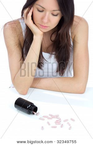 Woman With  Pills Medicine Tablets