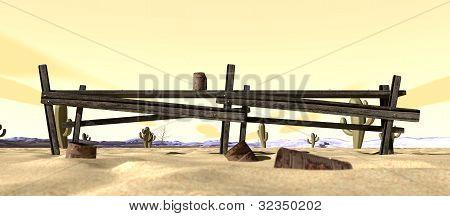 Cartoon Desert With Broken Down Fence
