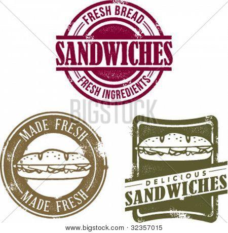 Vintage Style Fresh Deli Sandwich Stamps