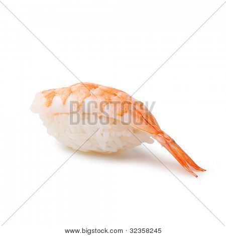 Sushi - Ebi Nigiri on a white