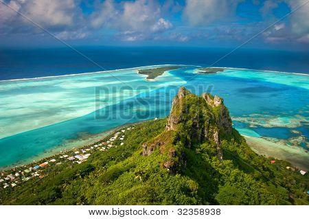 Ver en la montaña de pico, Maupiti, Polinesia francesa, Islas de la sociedad