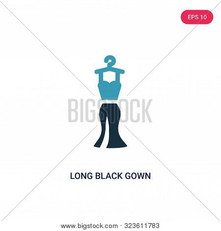 poster of long black gown icon in two color design style.