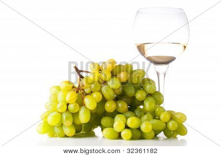 White Wine And White Grapes