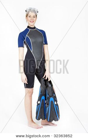 standing young woman wearing neoprene with flippers and diving goggles