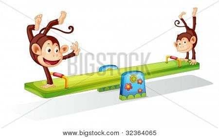 Monkeys planying on a seesaw