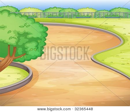 Illustration of an empty schoolyard