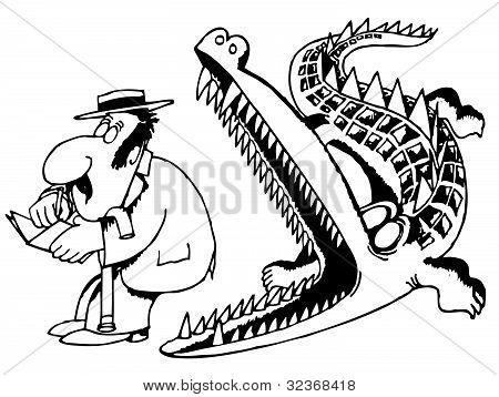 Crocodile eating the man