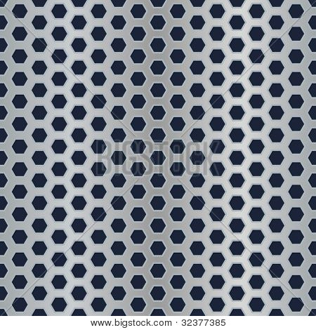 Seamless metal hexagon perforated vector texture.