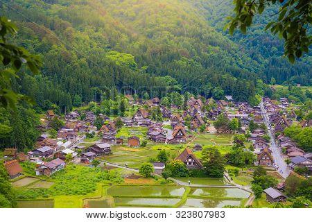 poster of Landscape Traditional And Historical Japanese Village Shirakawago In Gifu Prefecture Japan, Gokayama