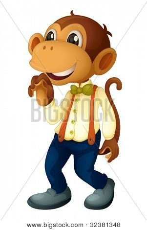 Man-like monkey on a white background