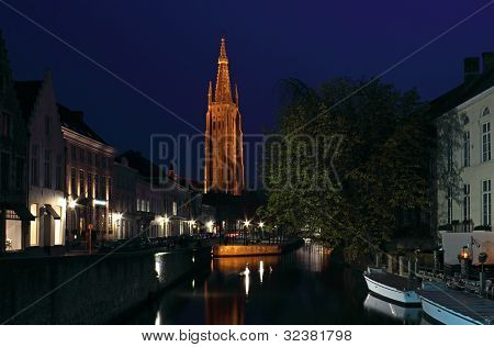 Bruges Night Shot Of Church Of Our Lady