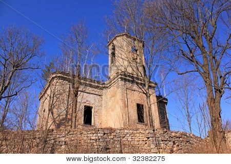 Ruins of church St. Mattheus in polish village Uniemysl