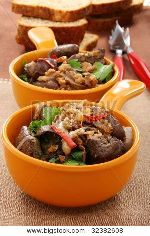 Chicken Liver With Onion And Walnuts.