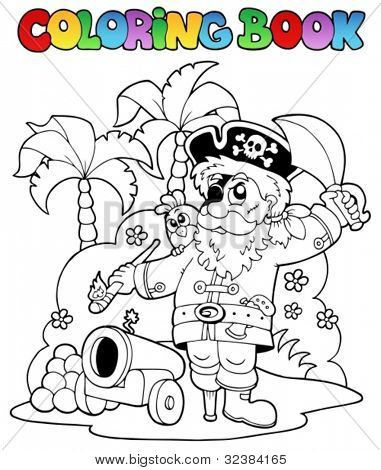 Coloring book with pirate theme 6 - vector illustration.