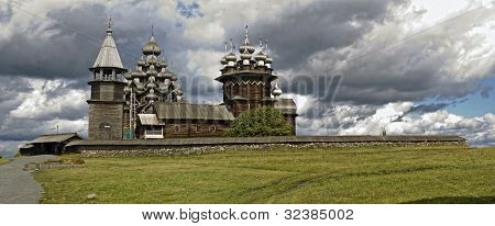 Panorama View Of Wooden Churches Of Transfiguration And Intercession. Russian North.