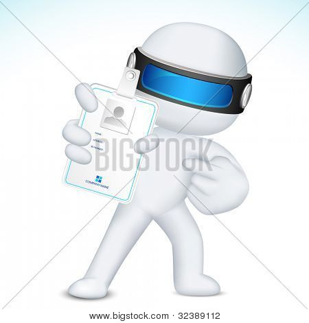 illustration of 3d business man in fully scalable vector showing identity card
