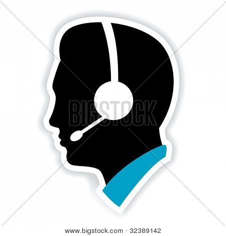 illustration of call center executive on white background