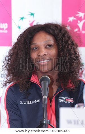 KHARKIV, UKRAINE - APRIL 19: Serena Williams at the press-conference before Fed Cup Tie between USA and Ukraine in Superior Golf & Spa Resort, Kharkiv, Ukraine at April 19, 2012