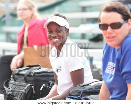 KHARKIV, UKRAINE - APRIL 19: Sloane Stephens on the bench during training before Fed Cup Tie between USA and Ukraine in Superior Golf & Spa Resort, Kharkiv, Ukraine at April 19, 2012