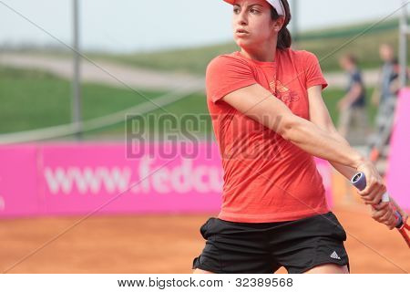 KHARKIV, UKRAINE - APRIL 19: Christina McHale on the court during training before Fed Cup Tie between USA and Ukraine in Superior Golf & Spa Resort, Kharkiv, Ukraine at April 19, 2012