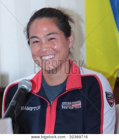 KHARKIV, UKRAINE - APRIL 19: Jamie Hampton on the press-conference before Fed Cup Tie between USA and Ukraine in Superior Golf & Spa Resort, Kharkiv, Ukraine at April 19, 2012