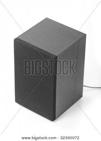 Black subwoofer isolated on white