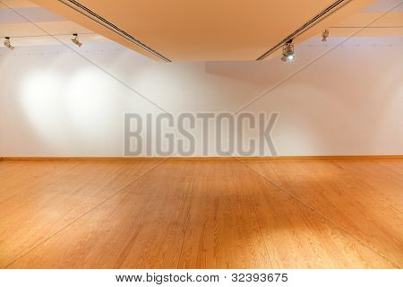 Empty white wall with spot lights and wooden floor