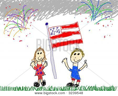 Kids Showing American Patriotism