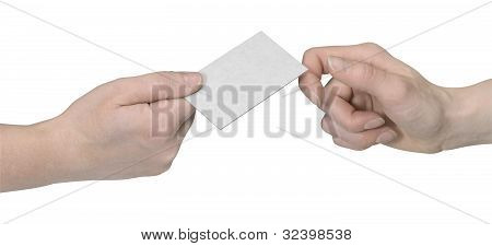 Hands And Busuness Card Handover