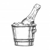 Champagne Bottle In Bucketful With Ice Ink Vector. Cold Sparkling Winery Alcoholic Champagne In Pail poster