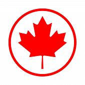 Maple Leaf Icon In A Circle. Maple Leaf Vector Illustration. The Symbol Of Canada Is A Red Maple Lea poster