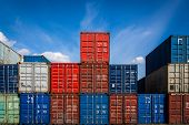 The Territory Of The Container Freight Yard:a Lot Of Metal Containers For Storing Goods Of Different poster