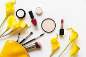 Makeup Cosmetics Tools And Beauty Cosmetics Gift, Products And Facial Cosmetics Package Lipstick Wit poster