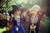 Halloween Scene With Cute Children. Trick-or-treating. Happy Halloween, Cute Toddler Girl And Boy Pl poster
