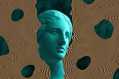 Modern Conceptual Art Poster With Ancient Statue Of Bust Of Venus. Collage Of Contemporary Art. poster