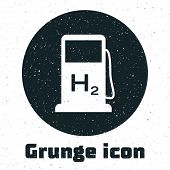 Grunge Hydrogen Filling Station Icon Isolated On White Background. H2 Station Sign. Vector Illustrat poster