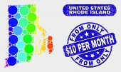 Spectrum Dot Rhode Island State Map And Seals. Blue Round From Only Dollar 10 Per Month Scratched St poster