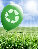 Recycling Symbol On Green Balloon