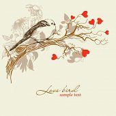 image of wedding invitation  - Cute love bird - JPG