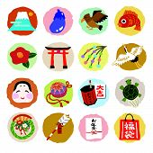 Set Of Japanese New Year Elements (fuji Mountain, Hawk, Red Snapper And, Shrine Gate, Camelia, Handb poster