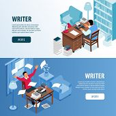 Writer Workplace Inspiration 2 Isometric Horizontal Web Page Banners With Literature Fiction Author  poster