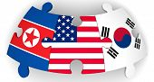 Usa, North And South Korea Collaboration. Puzzles With Flags Of United States Of America, South Kore poster