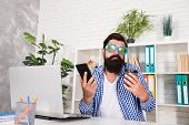 I Dont Know. Funky Man With Shrug Face Holding Mobile Phone And Coffee Cup At Work. Brutal Hipster U poster
