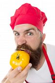 Eat Fresh Tomato. Tomato Sauce Recipe. Healthy Cooking Concept. Man With Beard On White Background.  poster