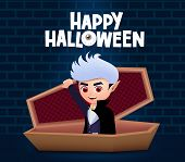 Happy Halloween Vampire Vector Design. Male Vampire Dracula With Red Eyes Wearing Cape While Sitting poster