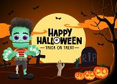 Halloween Zombie Vector Background. Happy Halloween Trick Or Treat Greeting Text In Moon Light And E poster