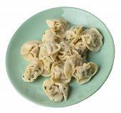 Dumplings On A Light Green Plate Isolated On White Background .boiled Dumplings.meat Dumplings Top S poster