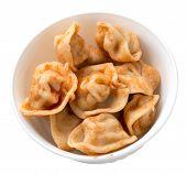 Dumplings On A White Plate Isolated On White Background. Dumplings In Tomato Sauce. Dumplings Top Vi poster