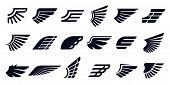 Silhouette Wing Icons. Bird Wings, Fast Eagle Emblem And Decorative Ornament Angel Wing Stencil. Bla poster